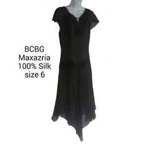 BCBG Maxazria Silk Dress Lace & Beaded Sz 6 EUC